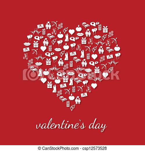 valentine icons in heart - csp12573528