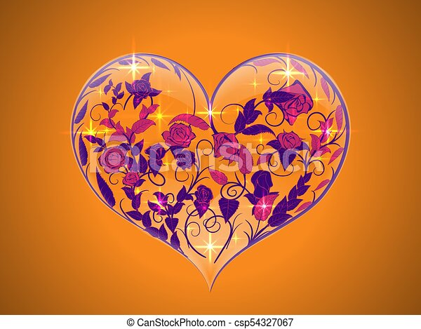 Line Art Valentine : Valentine in the form of a transparent glass heart with clip art