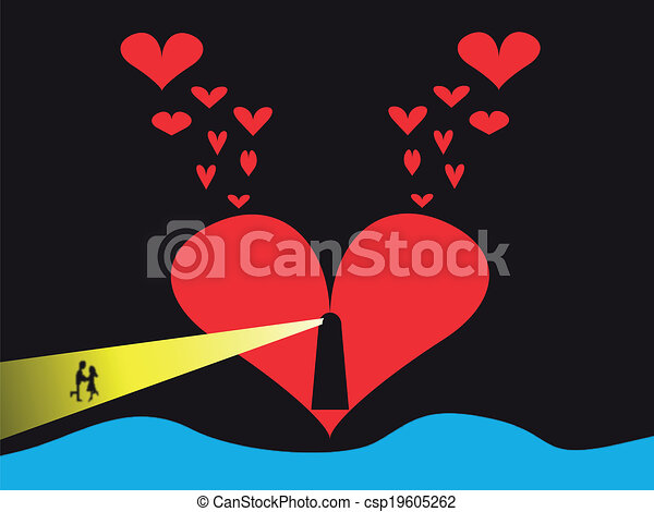 Line Art Valentine : Valentine lighthouse. couple kissing in the beam from a clip art