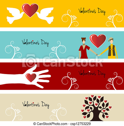 Valentine love banner set - csp12753229