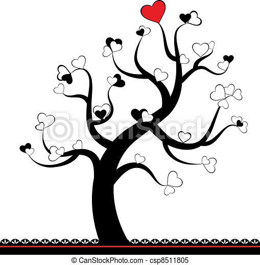 Valentine love tree leaf from heart - csp8511805