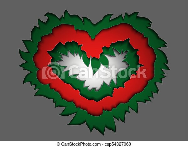 Valentine made of paper in bright colors in the style material design to cut paper - csp54327060