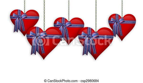 Valentine or 4th of July Hearts border - csp2980684