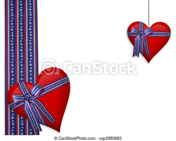 Valentine or 4th of July Hearts border - csp2980683