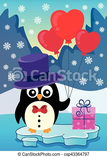 Valentine Penguin Topic Vector