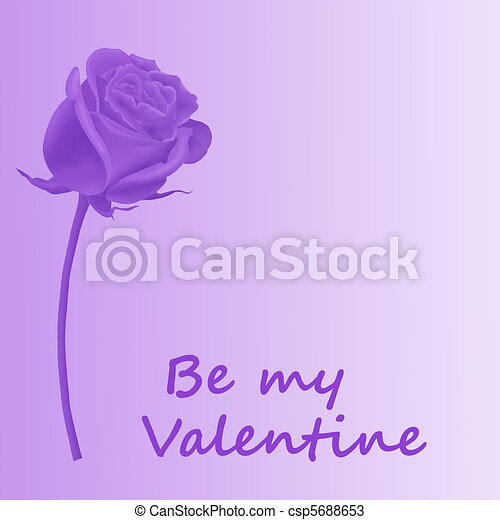 Valentine Purple Rose Isolated On A White Background Drawings