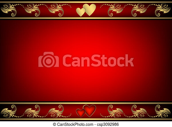Valentine red  background with  hearts - csp3092986