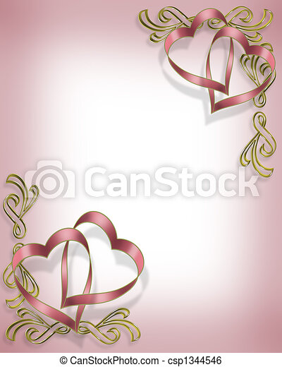 Valentine Ribbon Hearts Design  - csp1344546