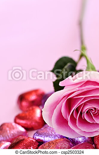 Valentine rose and candy - csp2503324