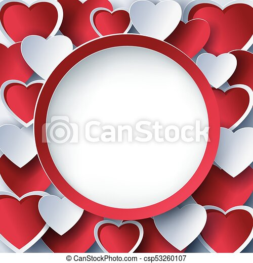 Valentine round frame with 3d red hearts. Trendy abstract valentines ...