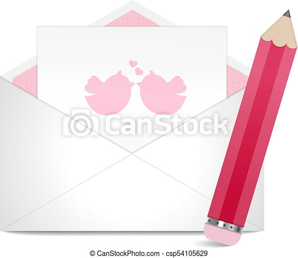 Valentine s day greeting card in envelope with pencil Vector Illustration - csp54105629