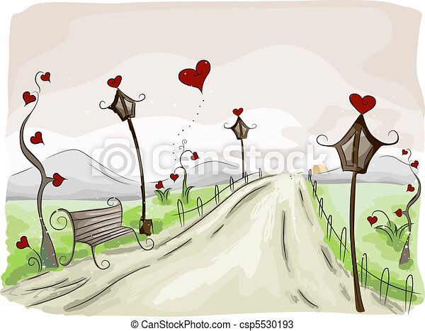 Line Art Valentine : Valentine scene. illustration of a rural scene with drawings