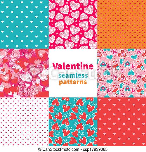 Valentine seamless pattern set  - csp17939065
