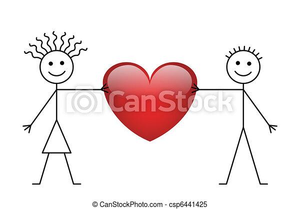 Valentine stick boy and girl - csp6441425