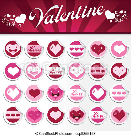 Valentine Stickers - csp8355153