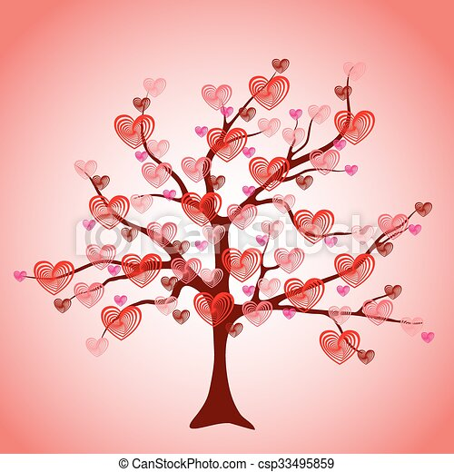 Valentine tree, love, leaf from hearts - csp33495859