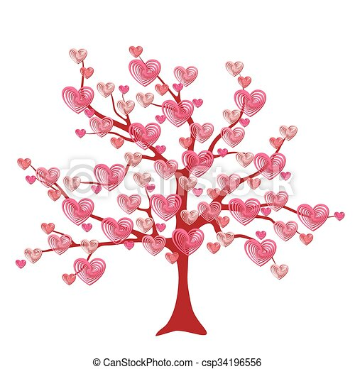 Valentine tree, love, leaf from hearts - csp34196556