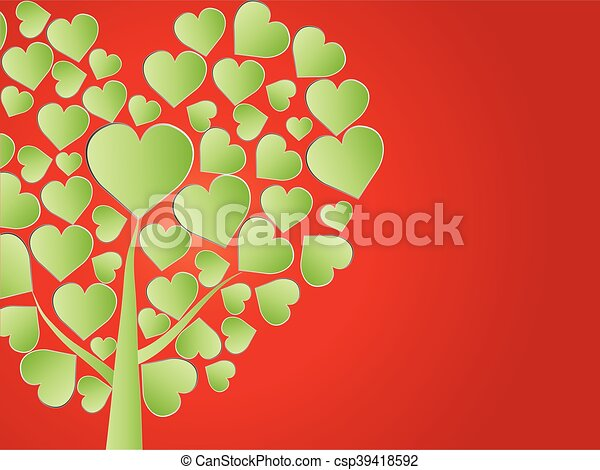Valentine tree, love, leaf from hearts - csp39418592