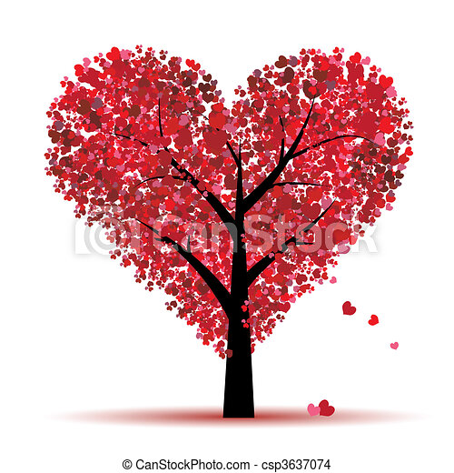 Valentine tree, love, leaf from hearts - csp3637074