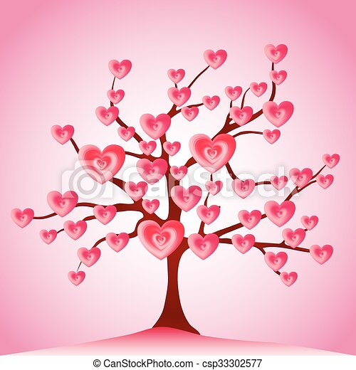 Valentine tree, love, leaf from hearts - csp33302577