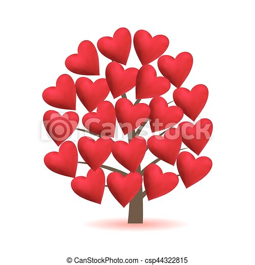 Valentine tree, love, leaf from hearts. Vector illustration. - csp44322815