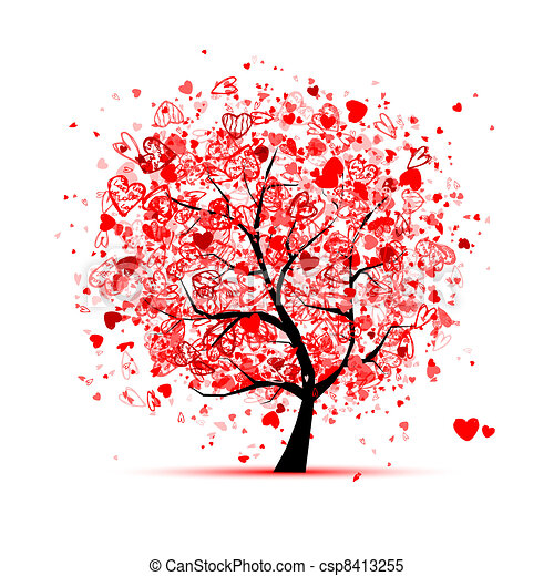 Valentine tree with hearts for your design - csp8413255