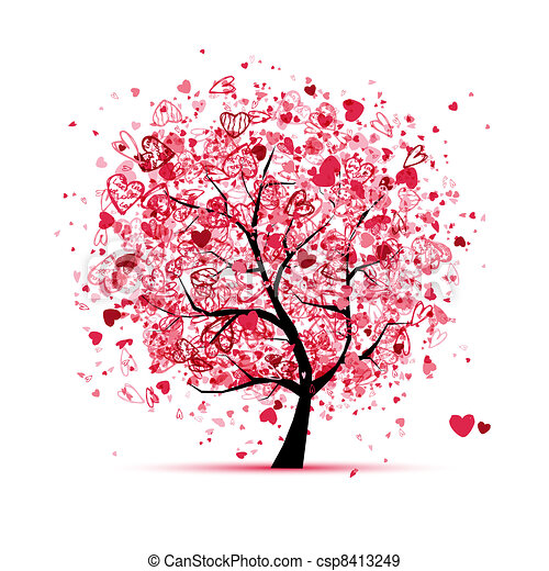 Valentine tree with hearts for your design - csp8413249