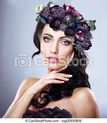 Valentine. Woman in Colorful Wreath of Flowers - csp20930809
