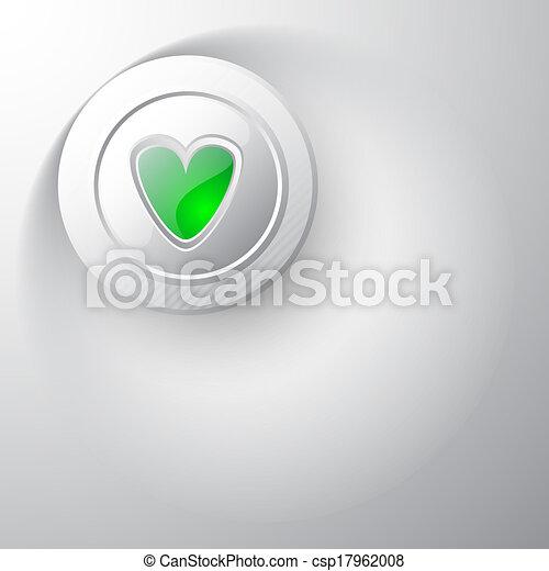 Valentines button heart green - csp17962008
