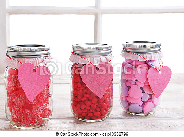 Valentines Candy Jars Canning Jars Filled With Candy Hearts And