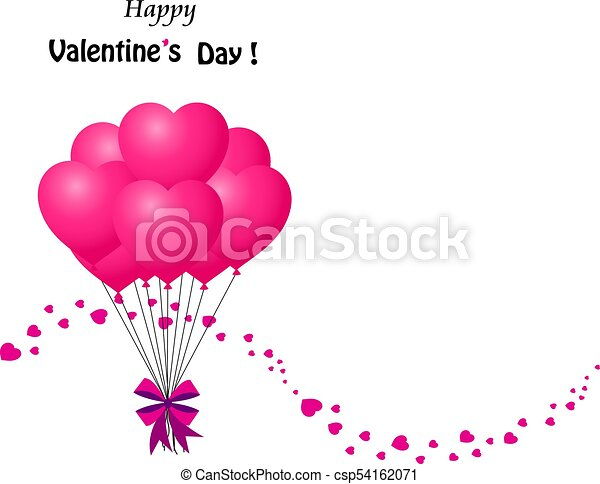 valentines card with bunch of pink heart shaped balloons happy