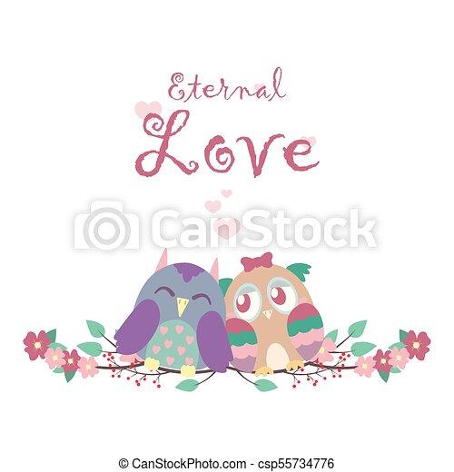 Valentine's card with owls - csp55734776
