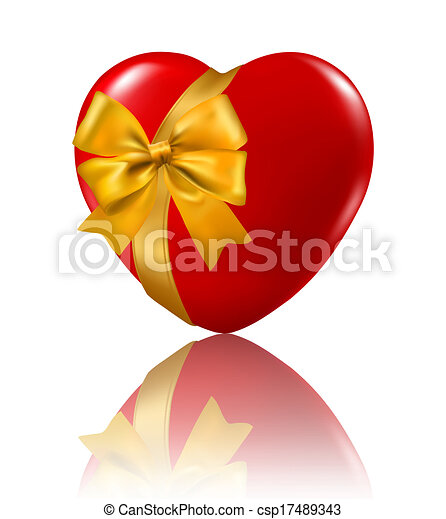Valentine`s day background. Red heart hanging on ribbon. Vector illustration. - csp17489343