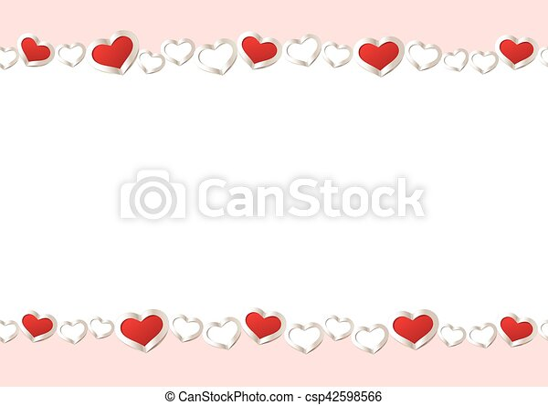 Valentines Day Background Red Hearts Border Frame Vector Frame