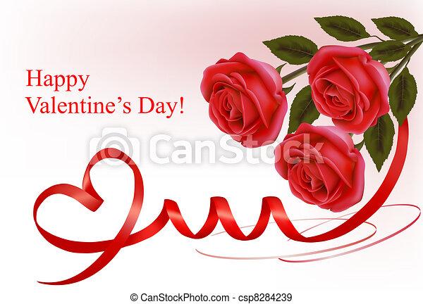 Valentine`s day background. Red ros - csp8284239