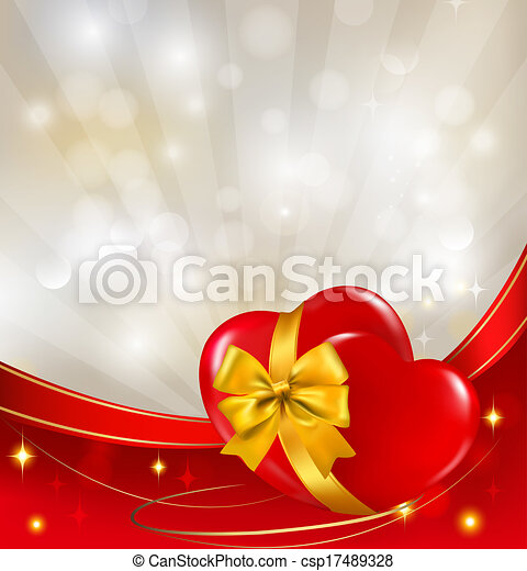 Valentine`s day background. Two red hearts with a ribbon. Vector illustration. - csp17489328