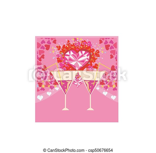 Valentines day background with champagne and hearts clipart vector ...