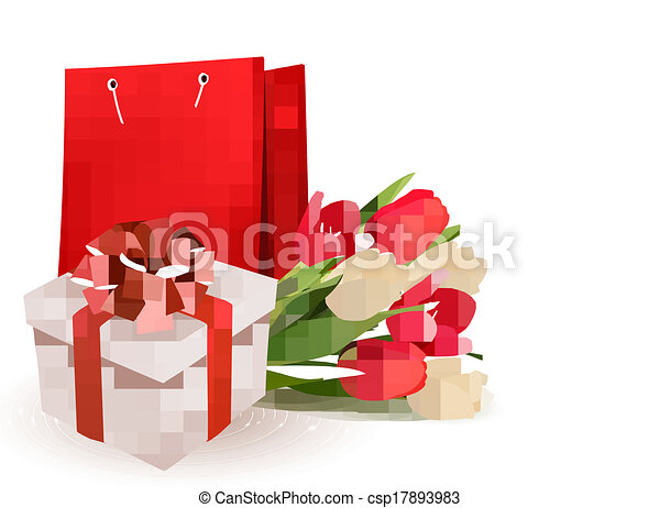 Valentine's day background with gift box and flowers. Vector. - csp17893983