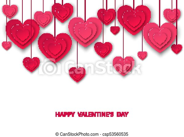 Valentines Day Background With Hanging Pink Cut Paper Hearts