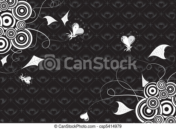 Valentines Day background with hearts and florals - csp5414979