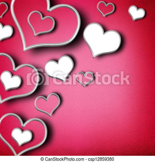 Valentines day background with hearts - csp12859380