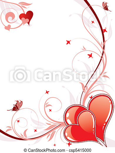 Valentines Day background with hearts and florals - csp5415000