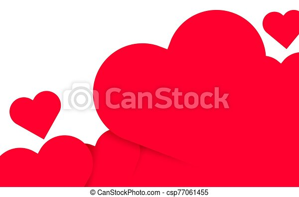 Valentines Day background with red 3d hearts. Cute love banner or greeting card. Place for text. Happy valentines day. - csp77061455