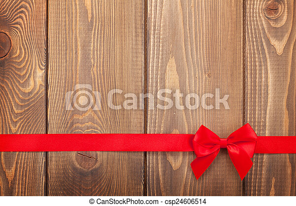 Valentines day background with red ribbon - csp24606514