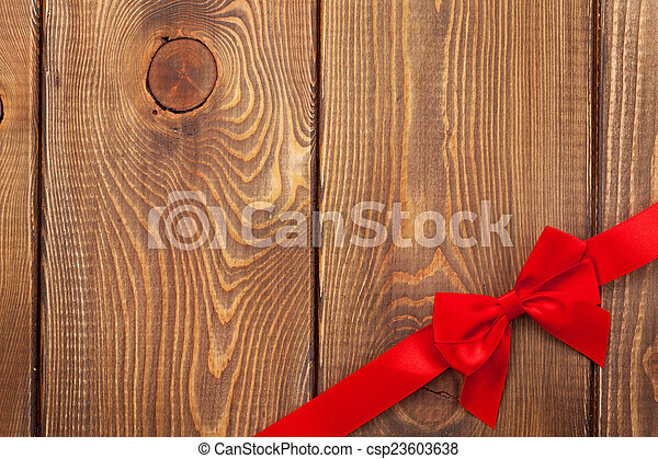 Valentines day background with red ribbon - csp23603638