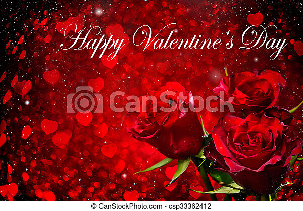 Valentines day background with roses - csp33362412