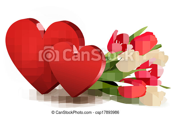 Valentine's day background with two hearts and flowers. Vector. - csp17893986