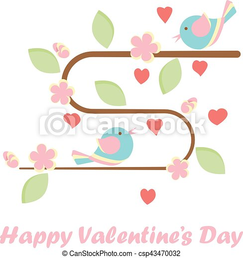 Valentines Day Banner With Cute Birds And A Tree Made Out Of Heart