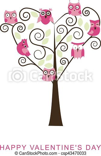 Valentines Day Banner With Cute Owls And A Tree Made Out Of Heart