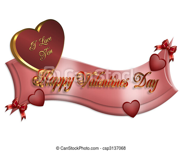 Illustration Composition Valentines Day Banner With Red Hearts Bows